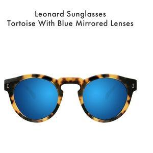 Illesteva Leonard Sunglasses Tortoise Blue Lens